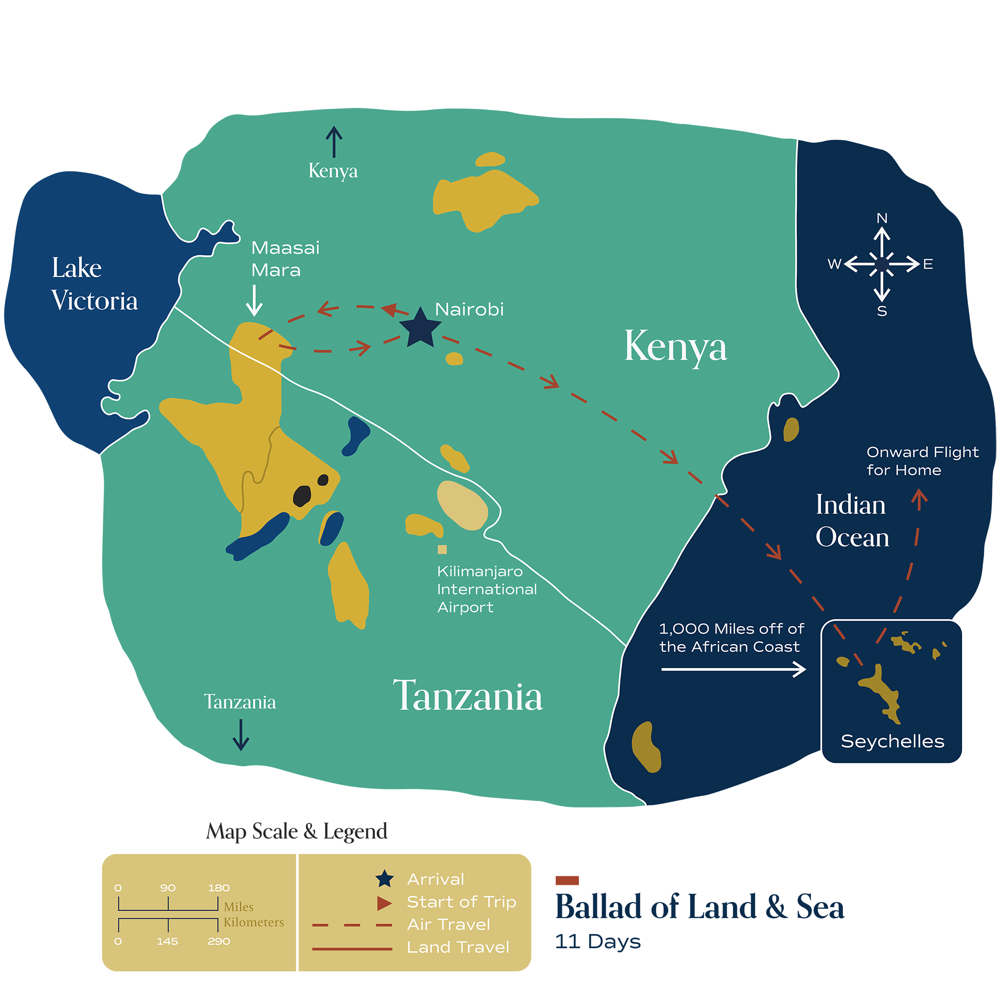"""This map visually depicts Metamo's """"Ballad of Land & Sea"""" journey."""