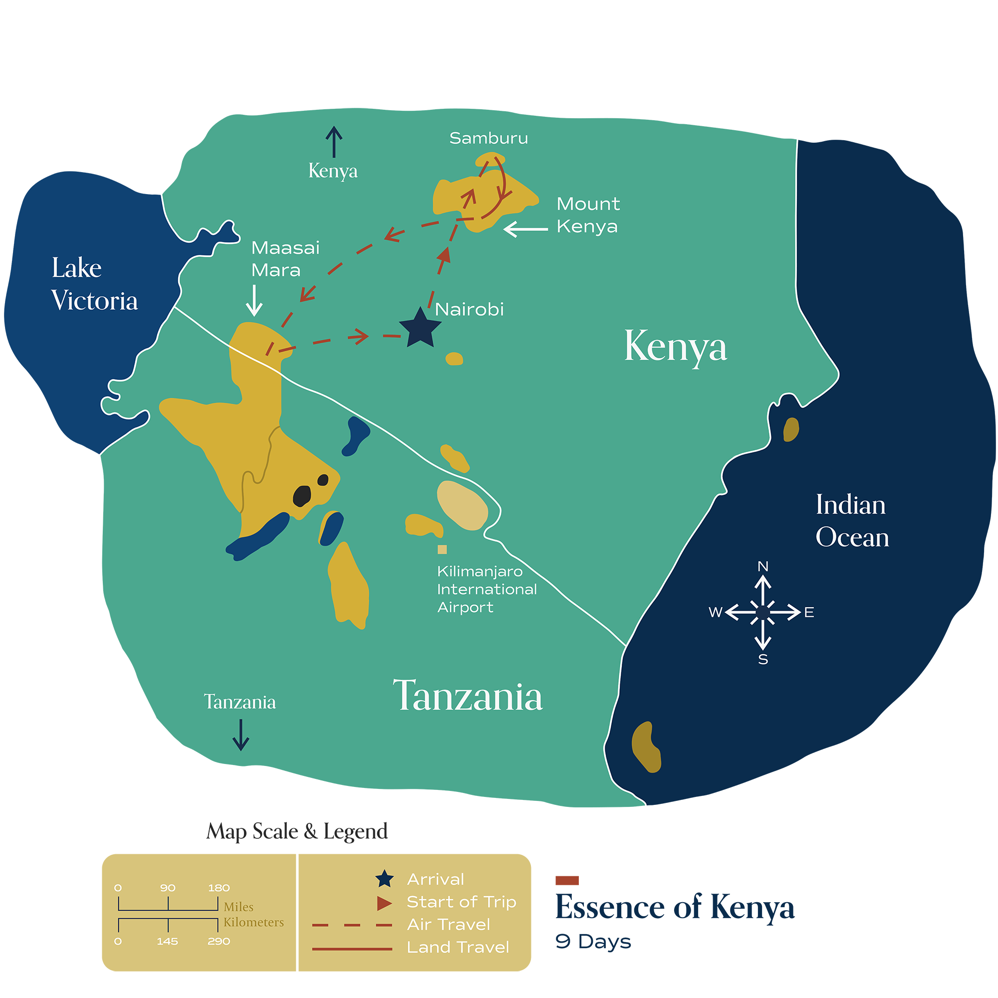 "This map visually depicts Metamo's ""Essence of Kenya"" journey."
