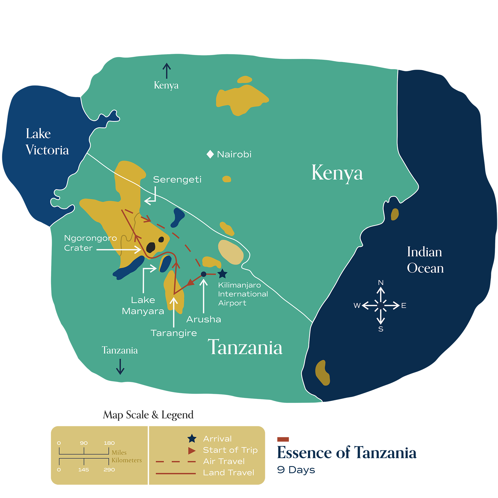 "This map visually depicts Metamo's ""Essence of Tanzania"" journey."