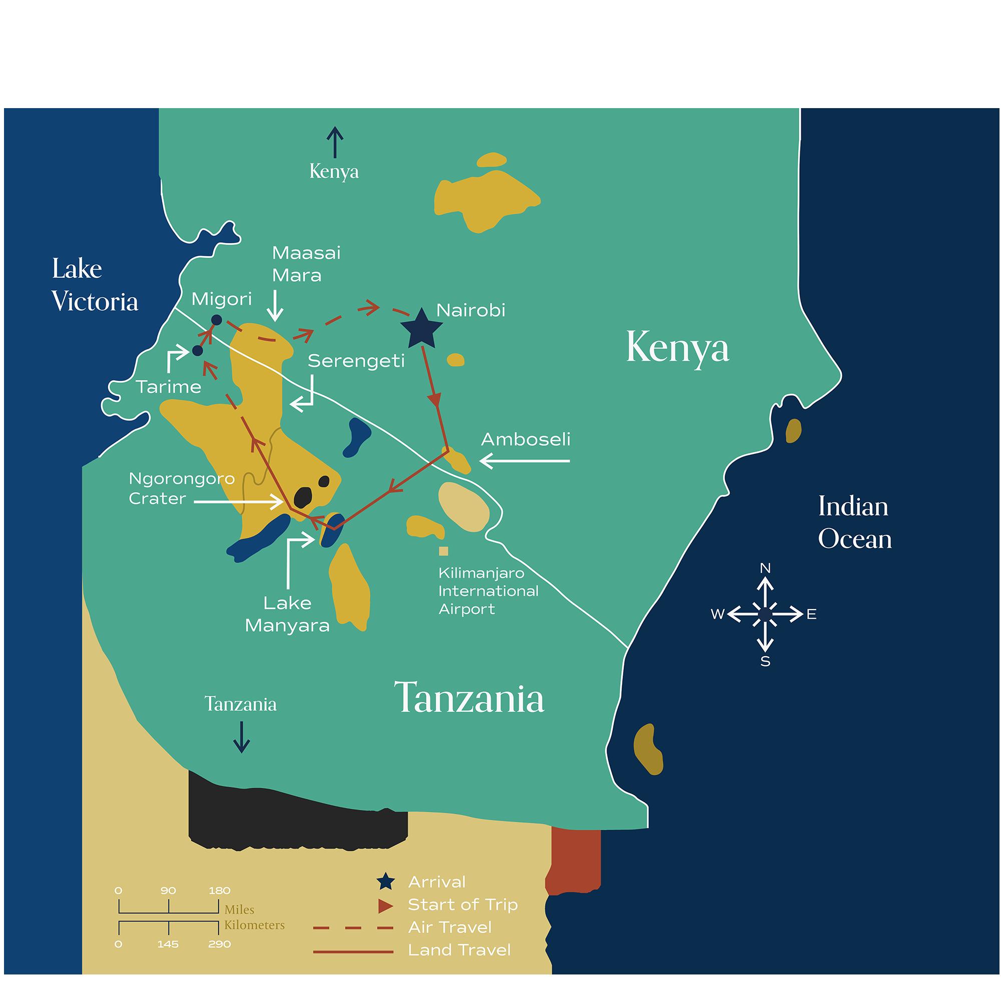 "This map visually depicts Metamo's ""Grandeur of Kenya & Tanzania"" journey."