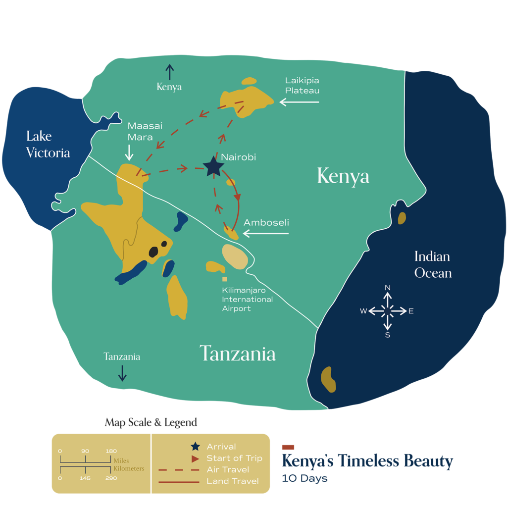 """This map visually depicts Metamo's """"Kenya's Timeless Beauty"""" journey."""