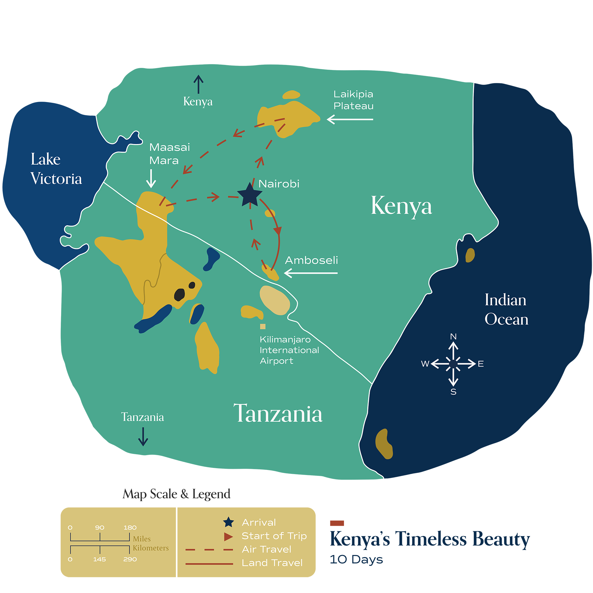 "This map visually depicts Metamo's ""Kenya's Timeless Beauty"" journey."