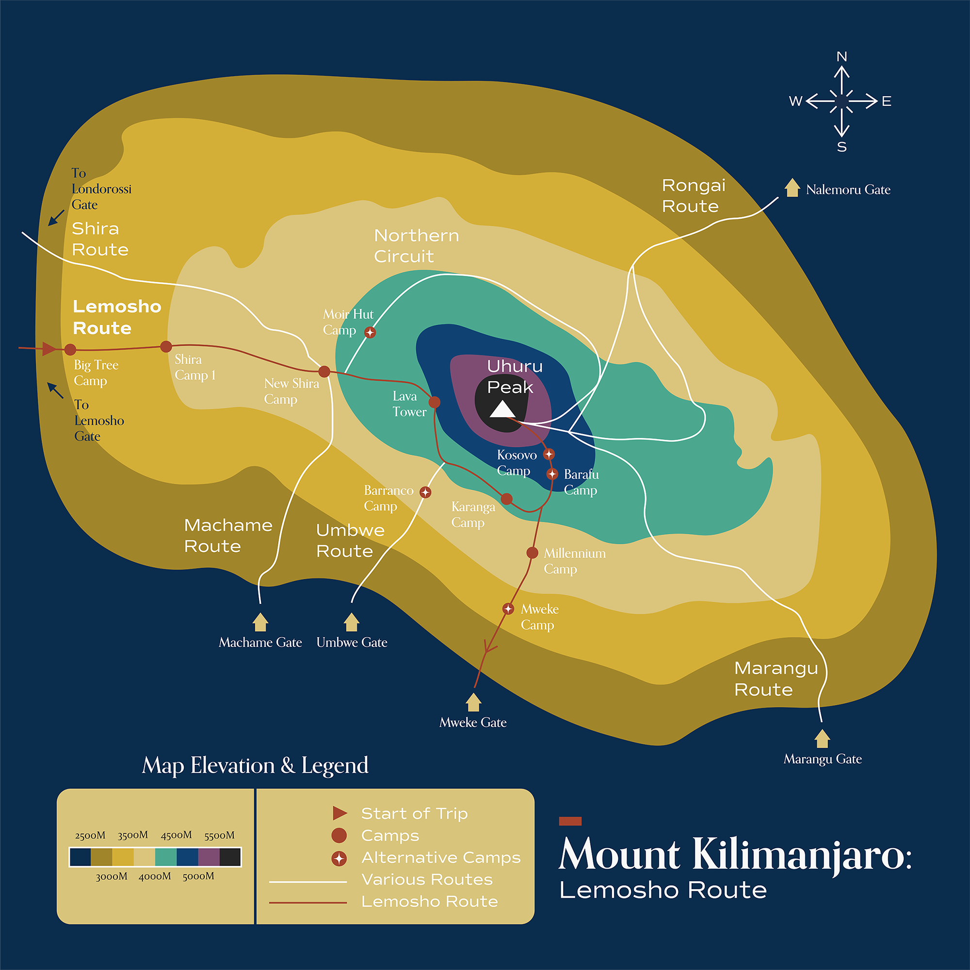 """This map visually depicts Metamo's """"Above the Shadow of the Giant"""" journey, and highlights the Lemosho Route."""