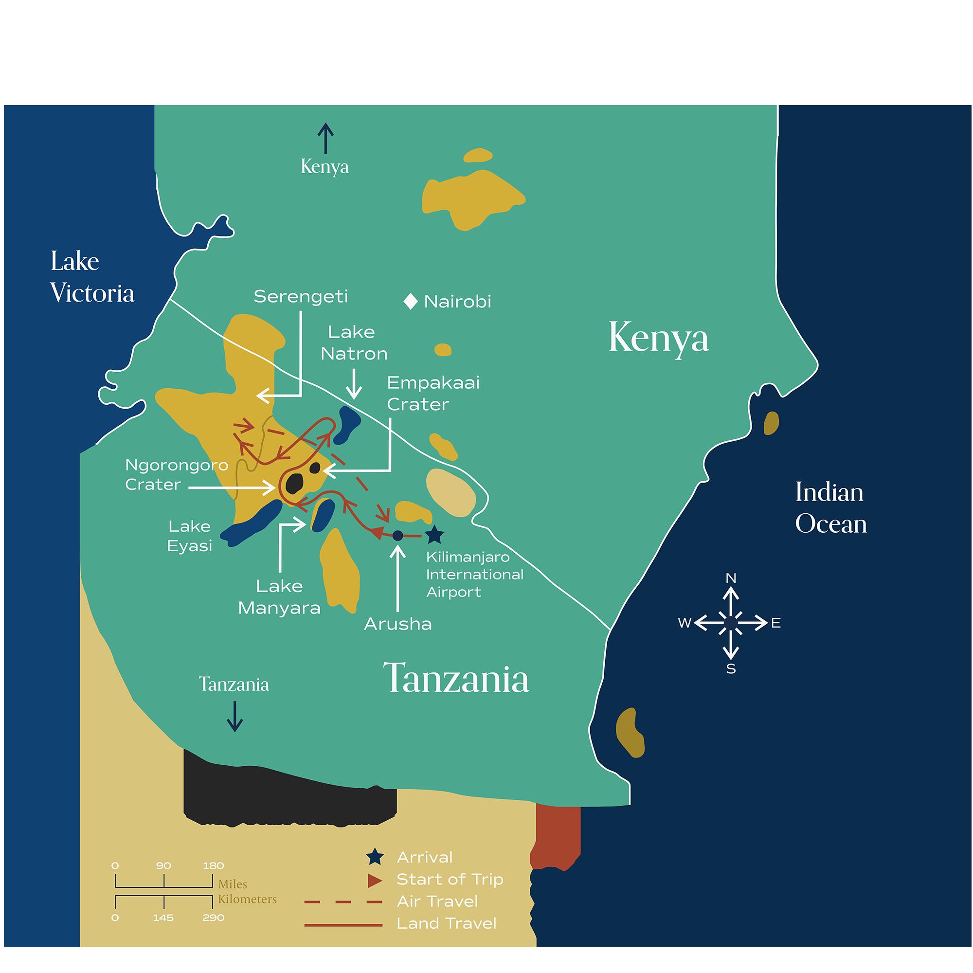 "This map visually depicts Metamo's ""Splendid Pursuit of Tanzania"" journey."