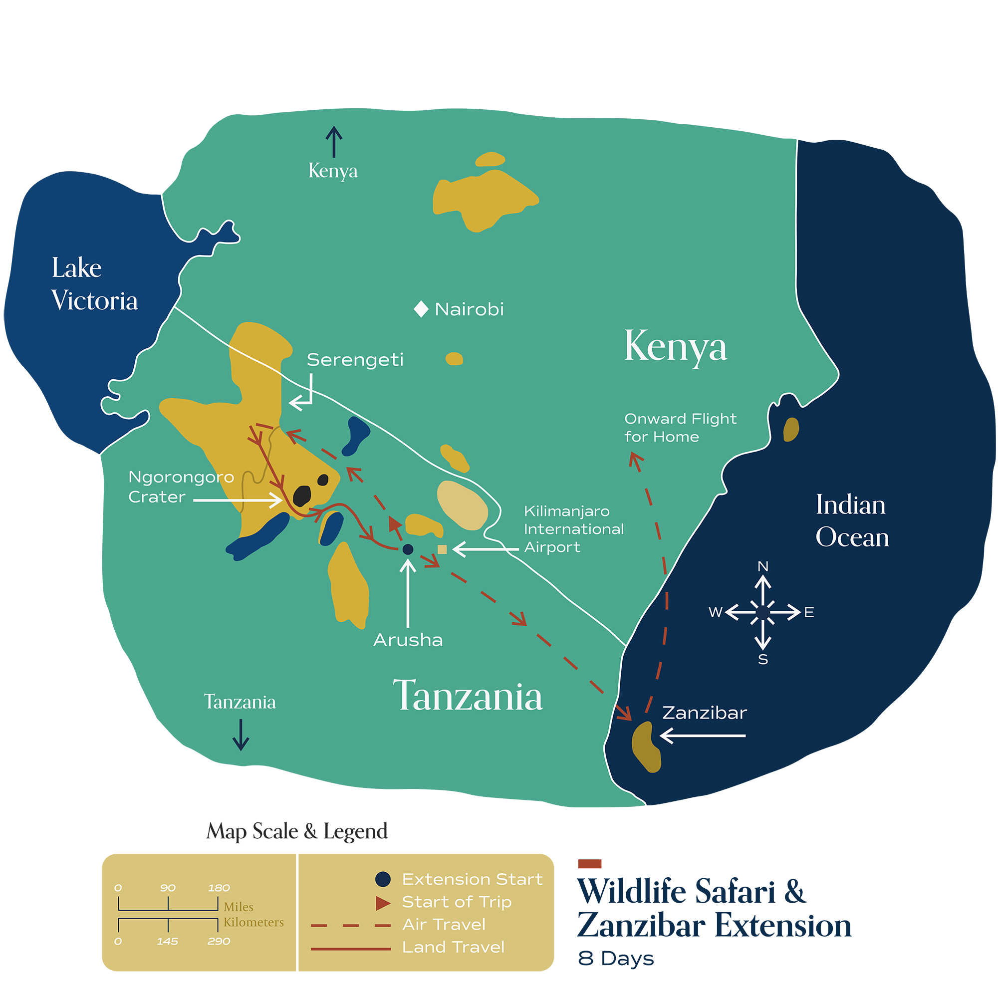 "This map visually depicts Metamo's ""Wildlife Safari & Zanzibar"" extension."