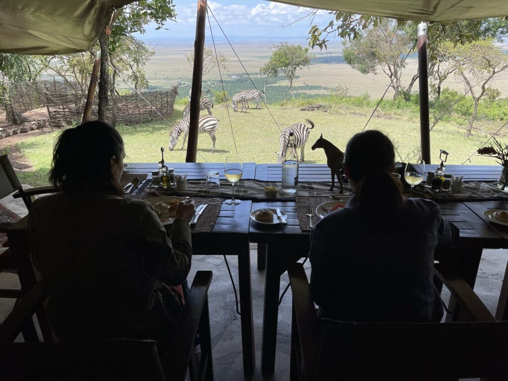 Two people sharing a lunch in a safari tent while watching the zebras.